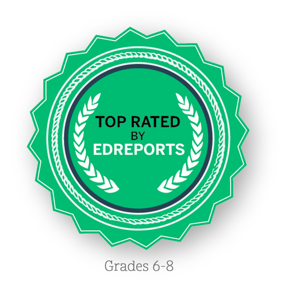 Top-rated by EdReports logo, grade 6 through grade 8
